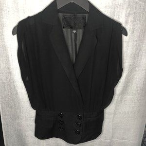 GUESS black sheer vest with button up front detail